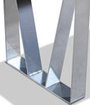 Tapered metal legs with satin chrome finish.